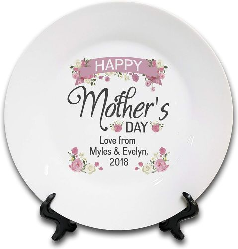 "8"" 'Personalised Happy Mother's Day.' Novelty Ceramic Plate & Stand"